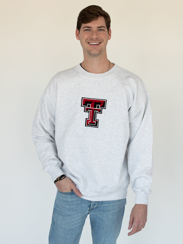 Texas Tech University Red Raiders Chenille Jumbo Double T Crewneck Sweatshirt - Ash Grey