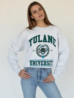 Tulane University Green Wave Vintage Wave Crewneck Cropped Sweatshirt - Ash Grey