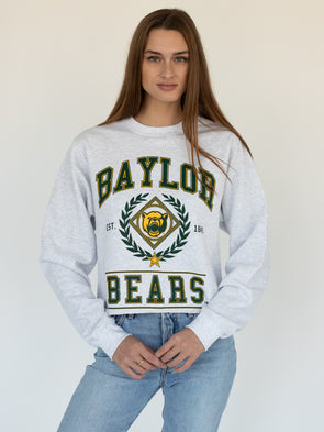 Baylor University Bears Vintage Mascot Cropped Crewneck Sweatshirt - Ash Grey