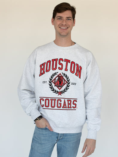University of Houston Cougars Vintage Cougar Crewneck Sweatshirt - Ash Grey