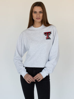 Texas Tech University Red Raiders Chenille Collegiate Double T Crewneck Cropped Sweatshirt - Ash Grey