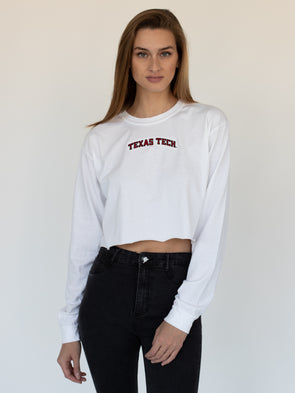 Texas Tech University Red Raiders Embroidered Comfort Colors Long Sleeve Cropped T-Shirt - White
