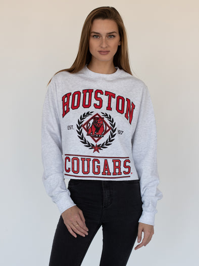 University of Houston Cougars Vintage Cougar Cropped Crewneck Sweatshirt - Ash Grey