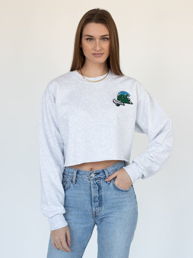 Tulane University Chenille Patch Green Wave Crewneck Cropped Sweatshirt - Ash Grey