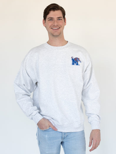 University of Memphis Tigers Logo Chenille Patch Sweatshirt - Ash Grey