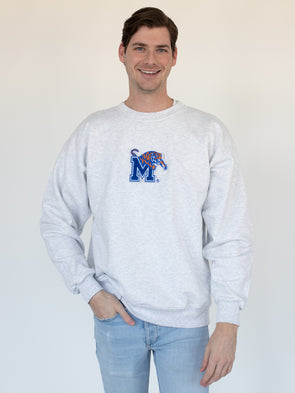 University of Memphis Tigers Jumbo Logo Chenille Patch Sweatshirt - Ash Grey