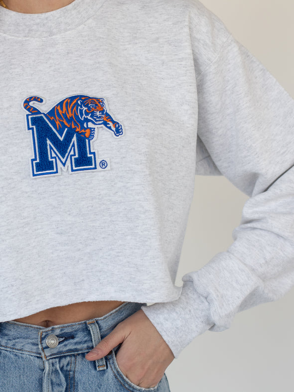 University of Memphis Tigers Jumbo Logo Chenille Patch Cropped Sweatshirt - Ash Grey