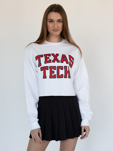 Texas Tech University Red Raiders Crewneck Cropped Sweatshirt - White
