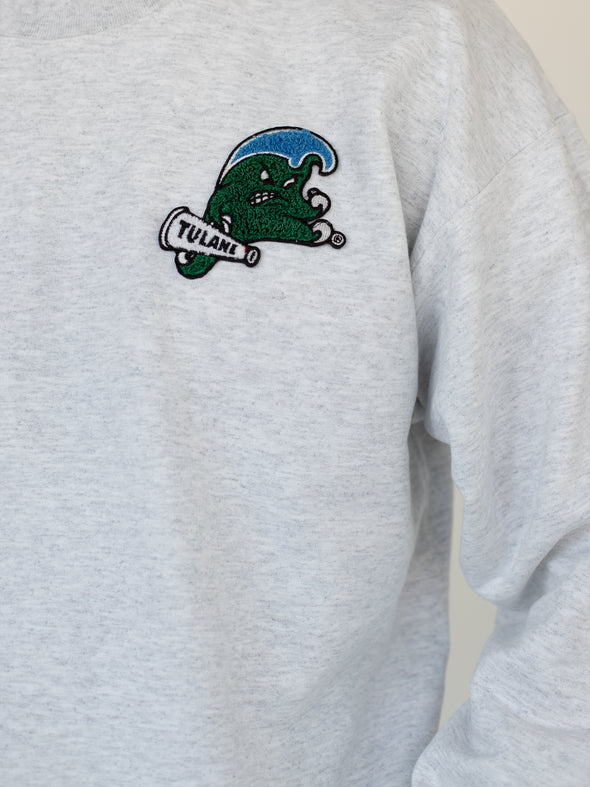 Tulane University Chenille Patch Green Wave Crewneck Sweatshirt - Ash Grey