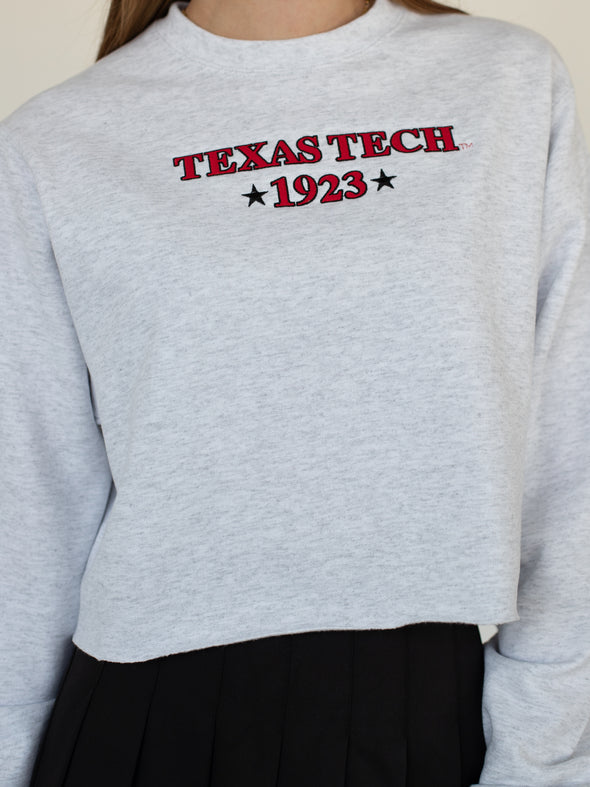 Texas Tech University Red Raiders 1923 Embroidered Crewneck Cropped Sweatshirt - White