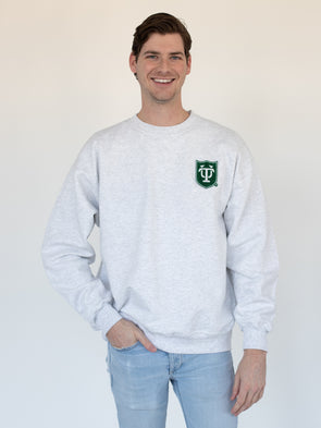 Tulane University Chenille Patch Coat of Arms Crewneck Sweatshirt - Ash Grey