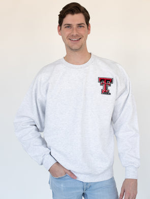 Texas Tech University Red Raiders Chenille Collegiate Double T Crewneck Sweatshirt - Ash Grey