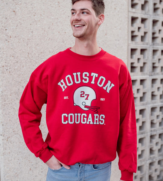 University of Houston Cougars Vintage Football Crewneck Sweatshirt - Red