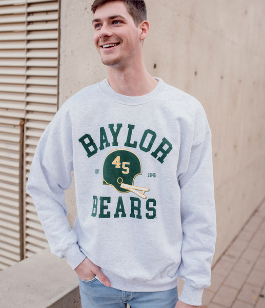 Baylor University Vintage Football Crewneck Sweatshirt - Ash Grey