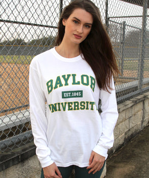 Baylor University Bears Comfort Colors Long Sleeve T-shirt - White with Teal