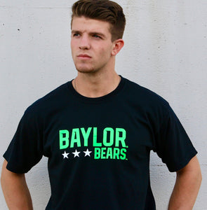 Baylor University Bears Neon Triple Star Comfort Colors Short Sleeve T-Shirt - Black