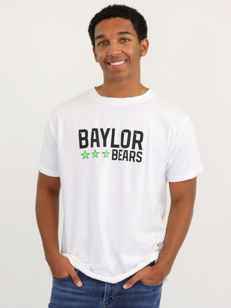 Baylor University Bears Neon Triple Star Comfort Colors Short Sleeve T-Shirt - White