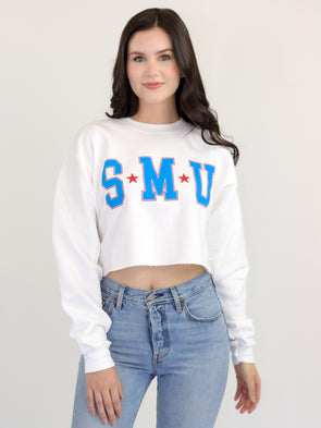 Southern Methodist University Mustangs College Block Crewneck Cropped Sweatshirt - White