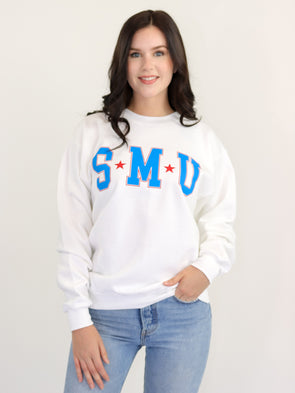 Southern Methodist University Mustangs College Block Crewneck Sweatshirt - White