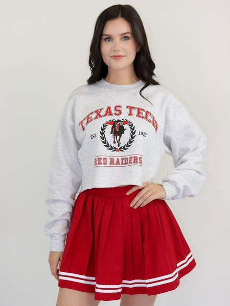 Texas Tech University Red Raiders Vintage Crewneck Cropped Sweatshirt - Ash Grey
