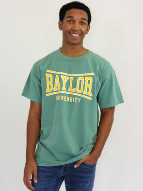 Baylor University Bears Retro Bend Comfort Colors Short Sleeve T-Shirt - Light Green