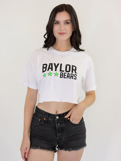 Baylor University Bears Neon Triple Star Comfort Colors Short Sleeve Cropped T-Shirt - White