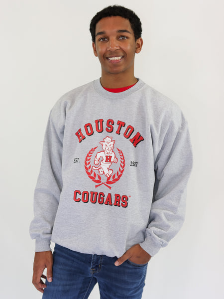 University of Houston Cougars Vintage Shasta Crewneck Sweatshirt - Grey
