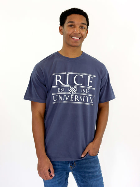 Rice University Owls Coat of Arms Shield Comfort Colors T-Shirt - Blue