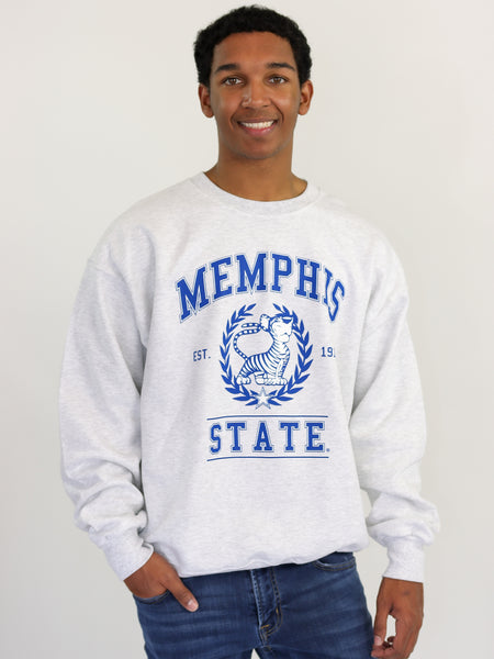 University of Memphis Tigers Vintage Crewneck Sweatshirt - Ash Grey