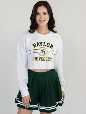 Baylor University Bears Mclane Crewneck Cropped Sweatshirt - White
