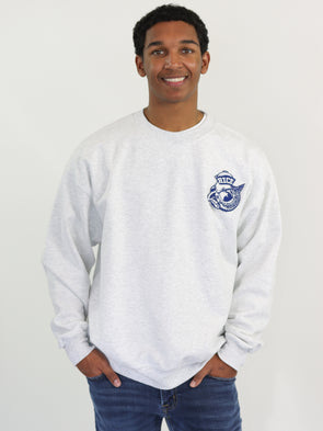 Rice University Owls Old Sailor Owl Chenille Patch Crewneck Sweatshirt - Ash Grey
