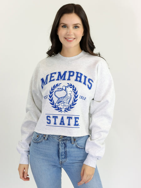 University of Memphis Tigers Vintage Crewneck Cropped Sweatshirt - Ash Grey