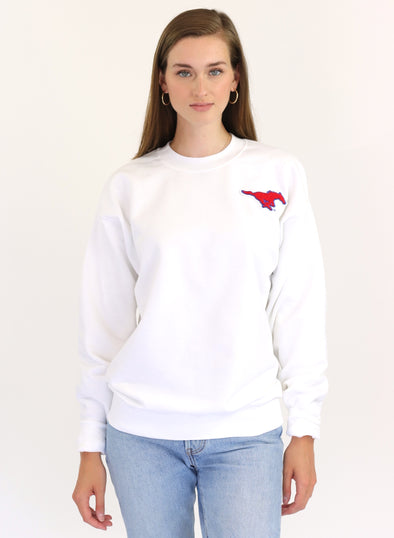 Southern Methodist University Vintage Chenille Pony Crewneck Sweatshirt - White