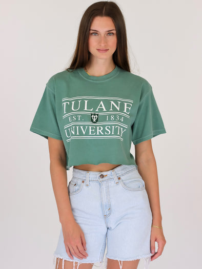 Tulane University Green Wave Coat of Arms Cropped T-Shirt - Light Green