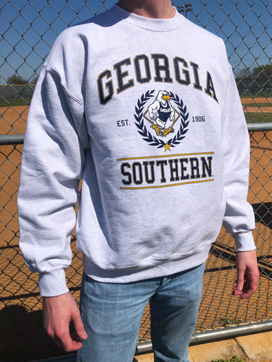Georgia Southern University Eagles Vintage Crewneck Sweatshirt - Ash Grey