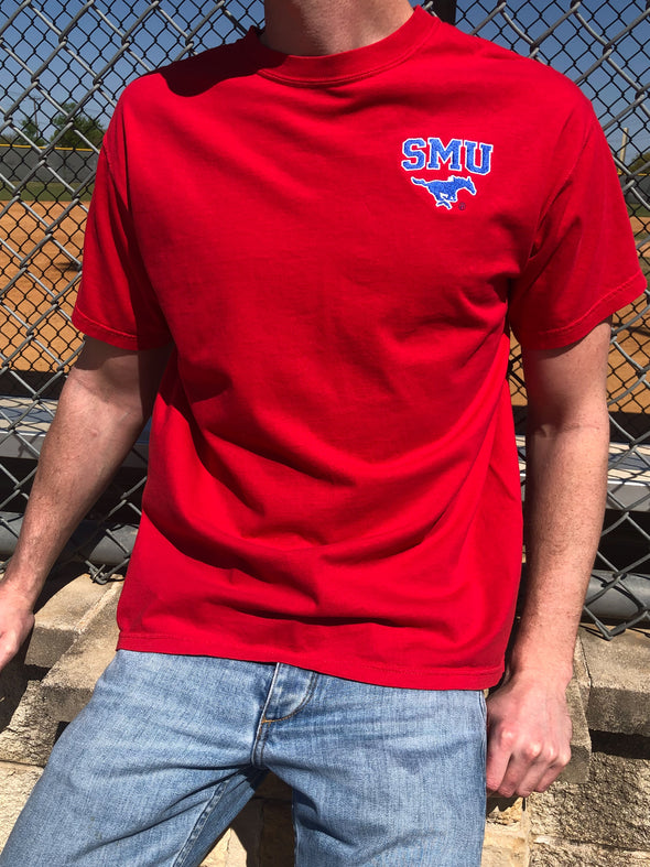 The University Embroidered Tee - SMU - Red