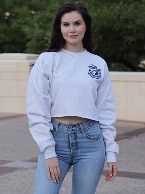 Rice University Owls Old Sailor Owl Chenille Patch Crewneck Cropped Sweatshirt - Ash Grey