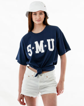 Southern Methodist University Mustangs College Block Comfort Colors T-Shirt - Navy