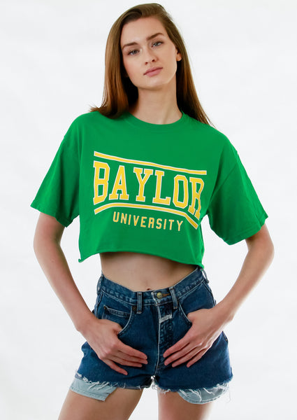 Baylor University Bears Retro Bend Comfort Colors Short Sleeve Cropped T-Shirt - Green