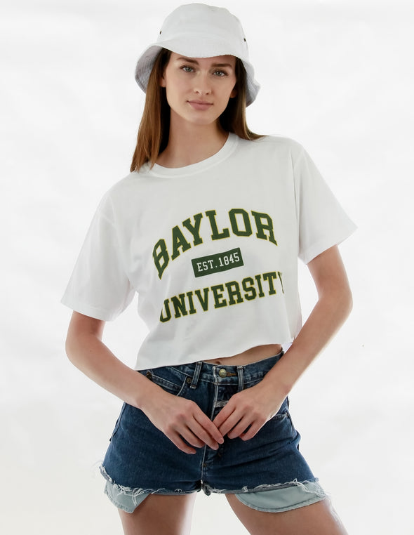 Baylor University Bears Comfort Colors Short Sleeve Cropped T-Shirt - White