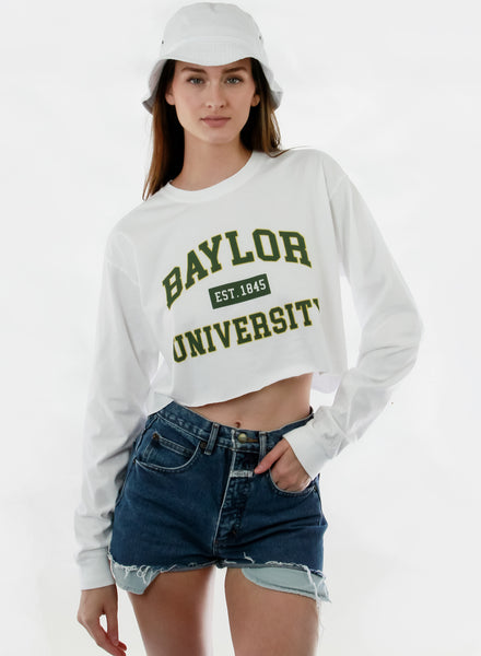 Baylor University Bears Comfort Colors Long Sleeve Cropped T-shirt - White with Green