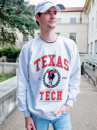 Texas Tech University Red Raiders Vintage Crewneck Sweatshirt - Ash Grey