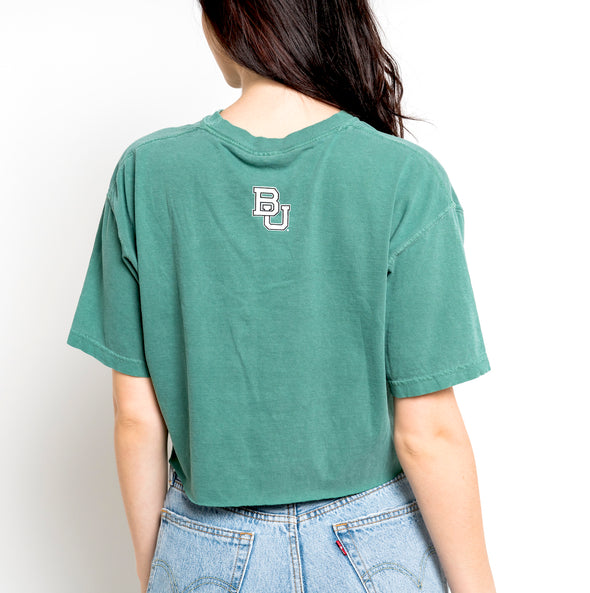 Baylor University Established 1845 Comfort Colors Short Sleeve Cropped T-Shirt - Light Green
