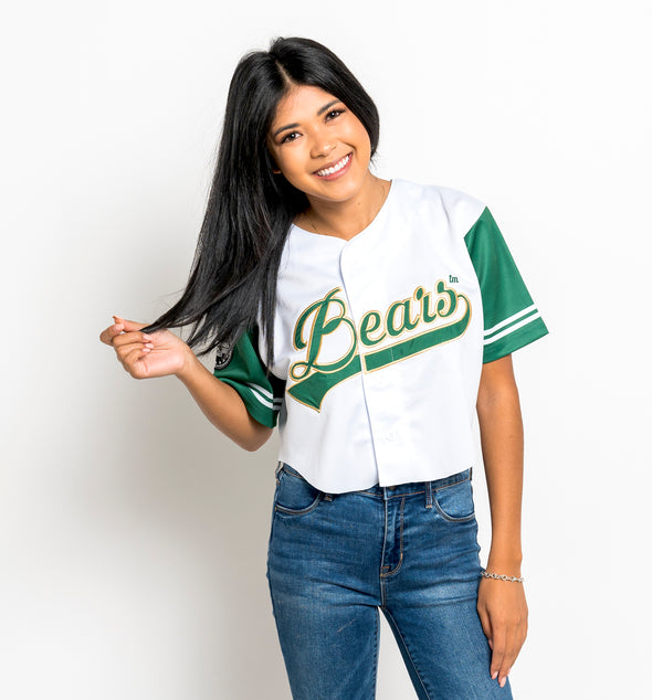 Baylor University Bears Embroidered Baseball Jersey - Crop