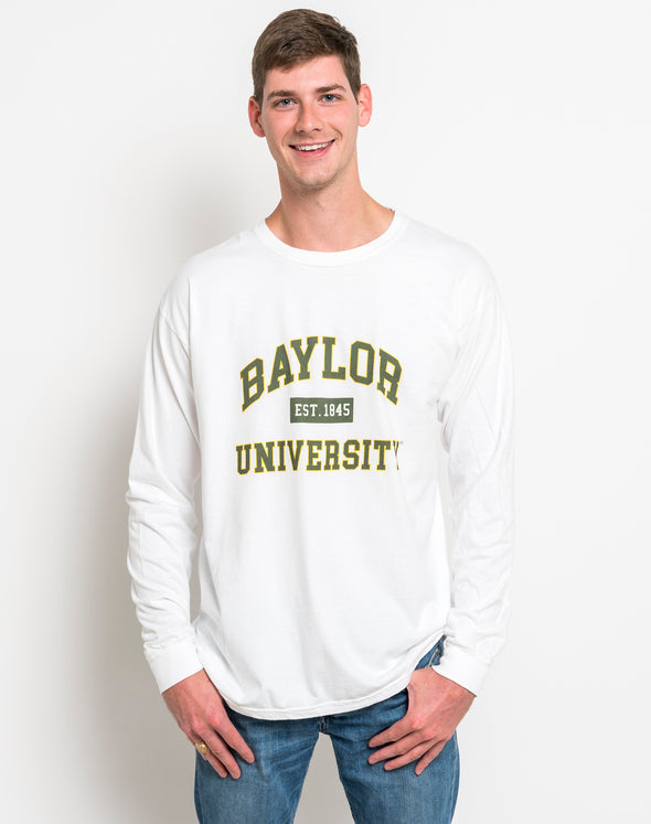 Baylor University Bears Comfort Colors Long Sleeve T-Shirt - White with Green