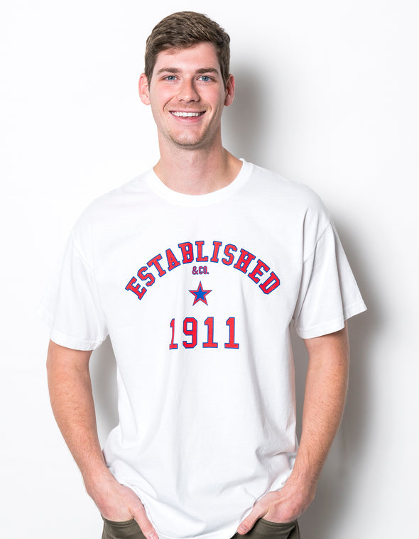 Southern Methodist University Comfort Colors Established 1911 Short Sleeve T-Shirt - White