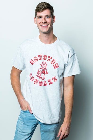 University of Houston Cougars Vintage Shasta Short Sleeve T-Shirt - Heather Gray