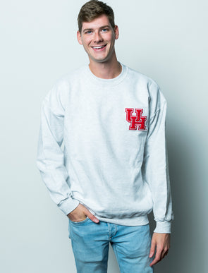 University of Houston Cougars Chenille Interlocking UH Crewneck Sweatshirt - Ash Grey