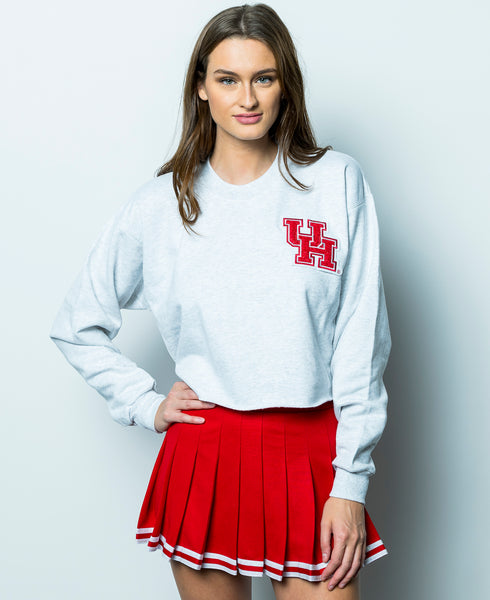 University of Houston Cougars Chenille Interlocking UH Crewneck Cropped Sweatshirt - Ash Grey