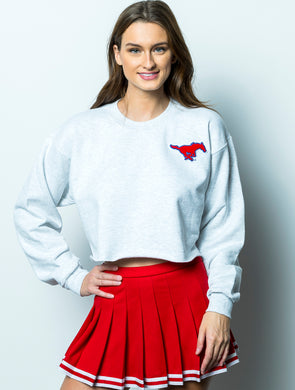 Southern Methodist University Vintage Chenille Pony Crewneck Cropped Sweatshirt - Ash Grey